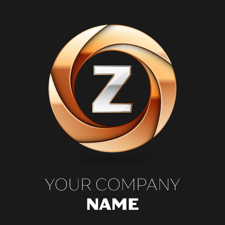 Realistic Silver Letter Z logo symbol in the golden colorful circle shape on black background. Vector template for your design
