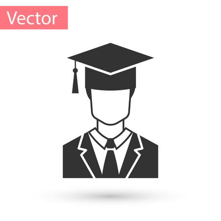 Perfil de estudiante graduado masculino gris con icono de toga y gorro de graduación aislado sobre fondo blanco. Ilustración vectorial
