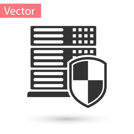 Grey Server with shield icon isolated on white background. Protection against attacks. Network firewall, router, switch or server, data, center. Vector Illustration Ilustração
