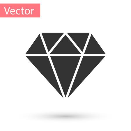 Grey Diamond sign isolated on white background. Jewelry symbol. Gem stone. Vector Illustration
