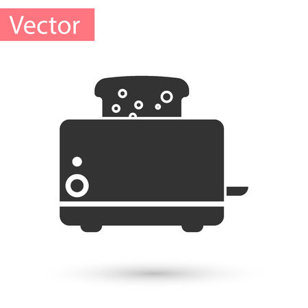 Grey Toaster with toasts icon isolated on white background. Vector Illustration