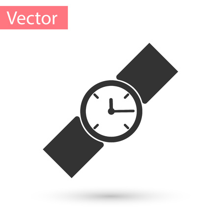 Grey Wrist watch icon isolated on white background. Wristwatch icon. Vector Illustration
