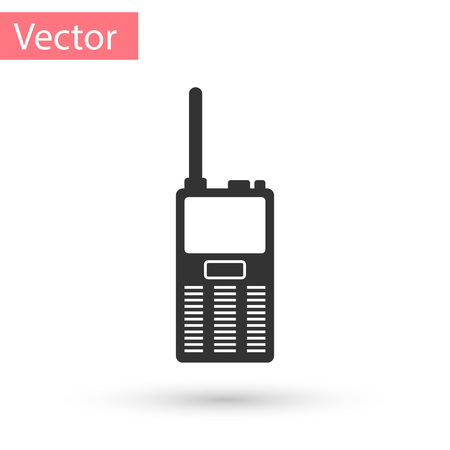 Grey Walkie talkie icon isolated on white background. Portable radio transmitter icon. Radio transceiver sign. Vector Illustration 向量圖像