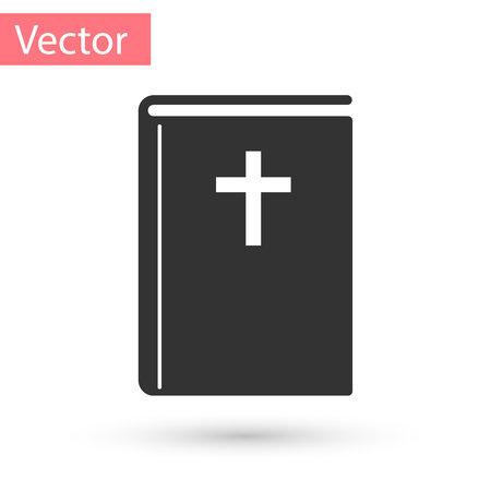 Grey Holy bible book icon isolated on white background. Vector Illustration Ilustração