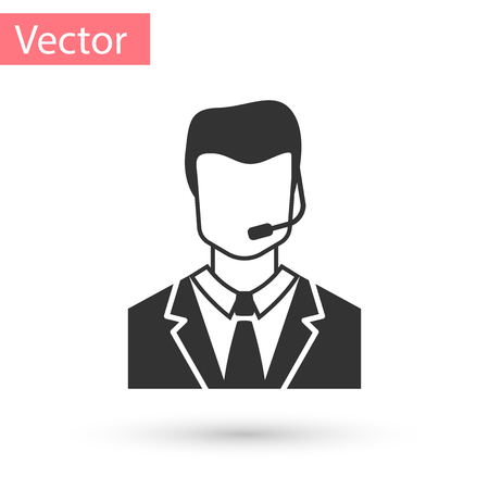 Grey Man with a headset icon isolated on white background. Support operator in touch. Concept for call center, client support service. Vector Illustration