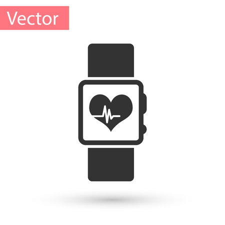 Grey Smart watch showing heart beat rate icon isolated on white background. Fitness App concept. Vector Illustration