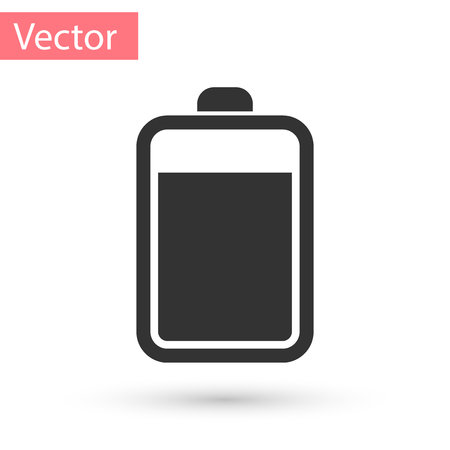 Grey Battery icon isolated on white background. Vector Illustration