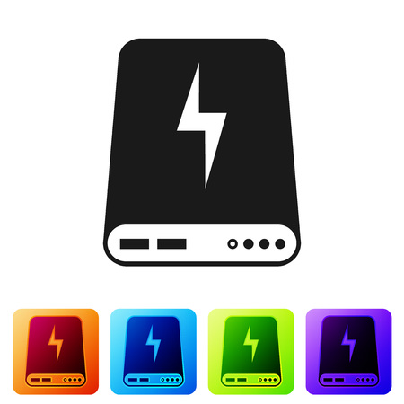 Black Power bank icon isolated on white background. Portable charging device. Set icon in color square buttons. Vector Illustration 일러스트