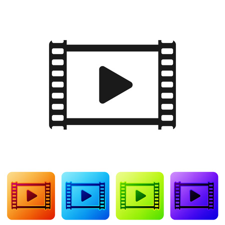 Black Play Video icon isolated on white background. Film strip with play sign. Set icon in color square buttons. Vector Illustration Ilustração