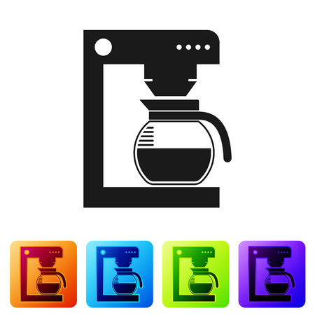 Black Coffee machine with glass pot icon isolated on white background. Set icon in color square buttons. Vector Illustration