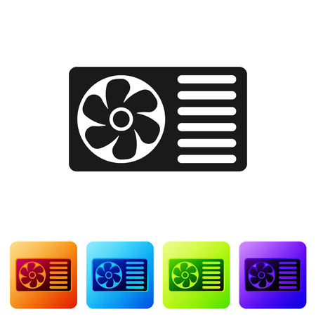 Black Air conditioner with fresh air icon isolated on white background. Split system air conditioning sign. Cool and cold climate control system. Set icon in color square buttons. Vector Illustration