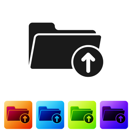 Black Download arrow with folder icon isolated on white background. Set icon in color square buttons. Vector Illustration