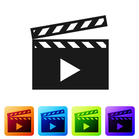Black Movie clapper icon isolated on white background. Film clapper board icon. Clapperboard sign. Cinema production or media industry concept. Set icon in color square buttons. Vector Illustration