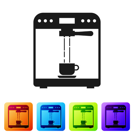 Black Coffee machine and coffee cup icon isolated on white background. Set icon in color square buttons. Vector Illustration Ilustração