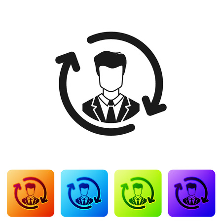 Black Human resources icon isolated on white background. Concept of human resources management, professional staff research, head hunter job. Set icon in color square buttons. Vector Illustration