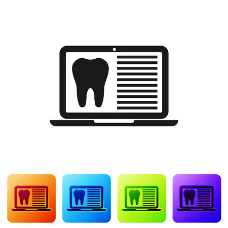 Black Laptop with dental card or patient medical records icon isolated on white background. Dental insurance. Dental clinic report. Set icon in color square buttons. Vector Illustration