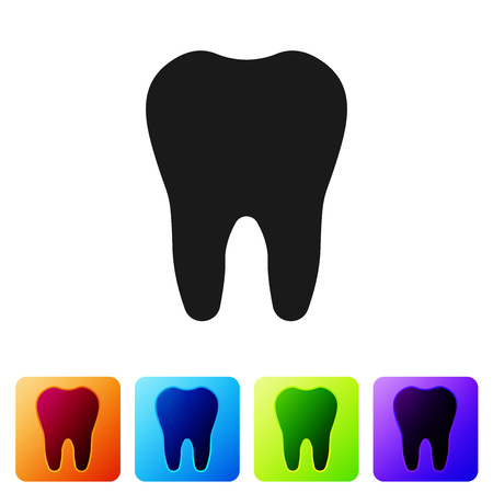 Black Tooth icon isolated on white background. Tooth symbol for dentistry clinic or dentist medical center and toothpaste package. Set icon in color square buttons. Vector Illustration