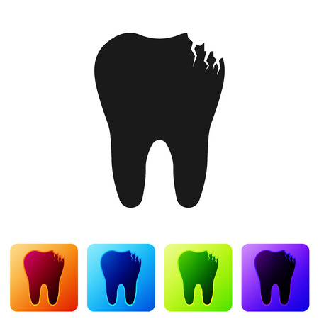 Black Broken tooth icon isolated on white background. Dental problem icon. Dental care symbol. Set icon in color square buttons. Vector Illustration