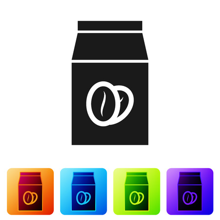 Black Coffee beans in bag icon isolated on white background. Set icon in color square buttons. Vector Illustration