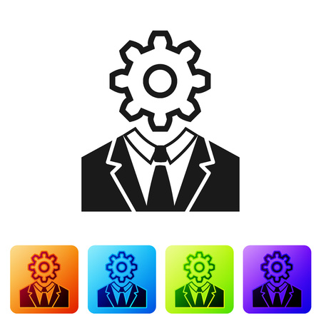 Black Human head with gear inside icon isolated on white background. Artificial intelligence. Thinking brain sign. Symbol work of brain. Set icon in color square buttons. Vector Illustration