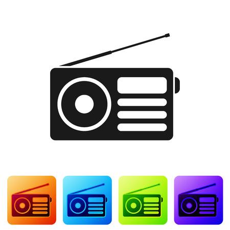 Radio noire avec icône d'antenne isolé sur fond blanc. Définir l'icône dans les boutons carrés de couleur. Illustration vectorielle
