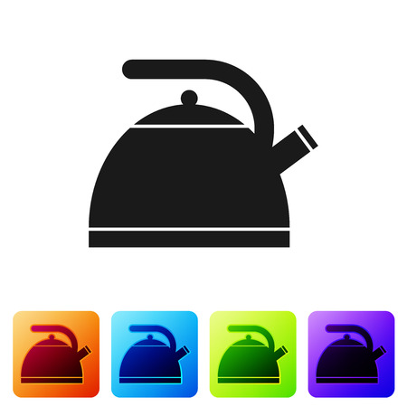 Black Kettle with handle icon isolated on white background. Teapot icon. Set icon in color square buttons. Vector Illustration Ilustrace