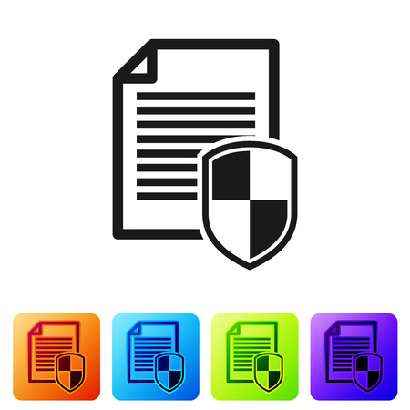 Document protection concept icon on white background. Confidential information and privacy idea, secure data with paper doc roll and guard shield. Set icon in color square buttons. Vector Illustration