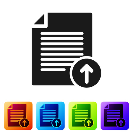 Black Upload file icon isolated on white background. File document symbol. Document arrow. Set icon in color square buttons. Vector Illustration Ilustração
