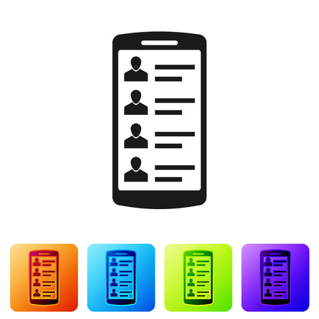 Black Smartphone with contacts on screen icon isolated on white background. Incoming call. People on phone screen. Call contact. Set icon in color square buttons. Vector Illustration