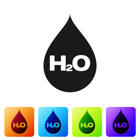 Black Water drop with H2O icon isolated on white background. Water formula. Set icon in color square buttons. Vector Illustration