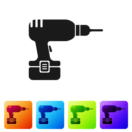 Black Drill machine icon isolated on white background. Set icon in color square buttons. Vector Illustration Illustration