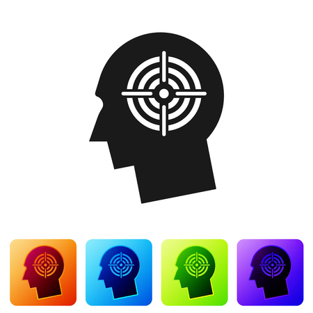 Black Head hunting concept icon isolated on white background. Business target or Employment sign. Human resource and recruitment for business. Set icon in color square buttons. Vector Illustration Illustration