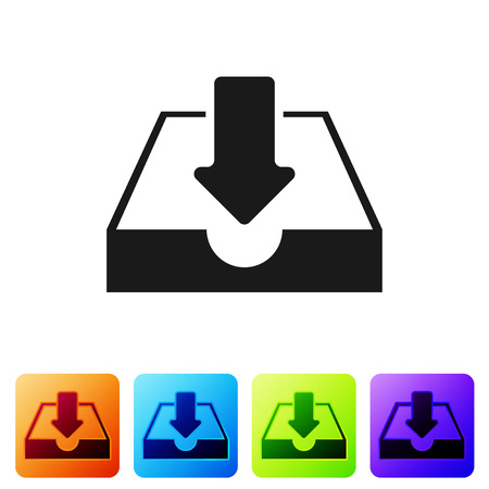 Black Download inbox icon isolated on white background. Set icon in color square buttons. Vector Illustration Ilustrace