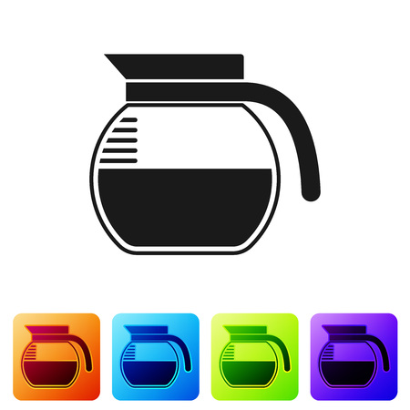 Black Coffee pot icon isolated on white background. Set icon in color square buttons. Vector Illustration Ilustração