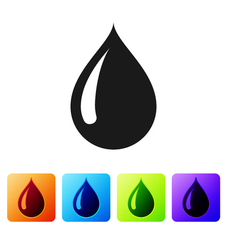 Black Water drop icon isolated on white background. Set icon in color square buttons. Vector Illustration