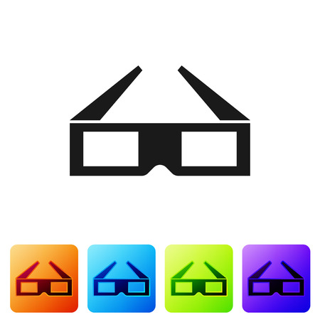 Black 3D cinema glasses icon isolated on white background. Set icon in color square buttons. Vector Illustration  イラスト・ベクター素材