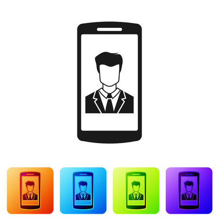 Black Smartphone with contact on screen icon isolated on white background. Incoming call. Human on phone screen. Call contact. Set icon in color square buttons. Vector Illustration