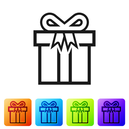 Black Gift box icon isolated on white background. Set icon in color square buttons. Vector Illustration