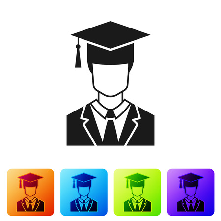 Black Male graduate student profile with gown and graduation cap icon isolated on white background. Set icon in color square buttons. Vector Illustration Ilustração