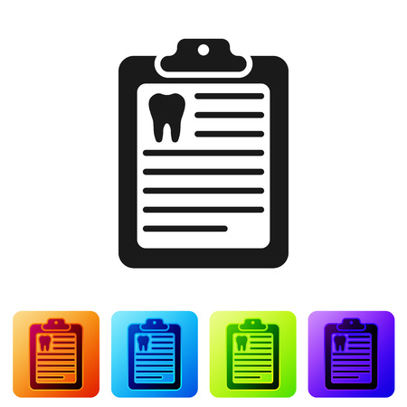 Black Clipboard with dental card or patient medical records icon isolated on white background. Dental insurance. Dental clinic report. Set icon in color square buttons. Vector Illustration
