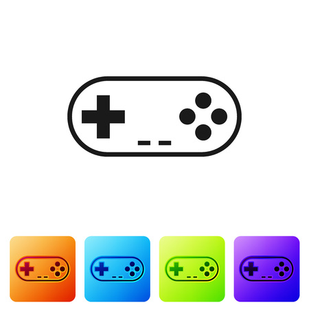 Black Gamepad icon isolated on white background. Game controller. Set icon in color square buttons. Vector Illustration