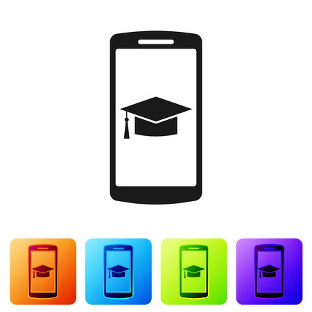 Black Graduation cap on screen smartphone icon isolated on white background. Online learning or e-learning concept. Set icon in color square buttons. Vector Illustration Illustration