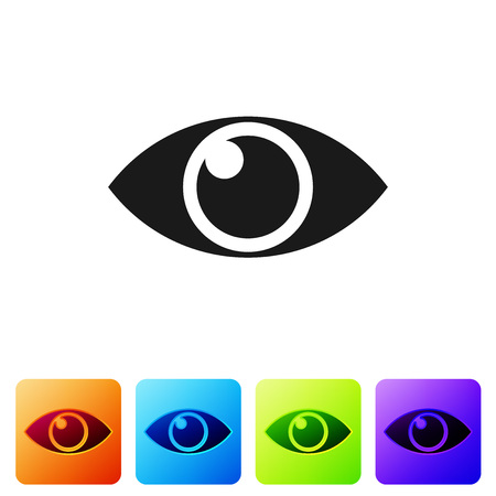 Black Eye icon isolated on white background. Set icon in color square buttons. Vector Illustration