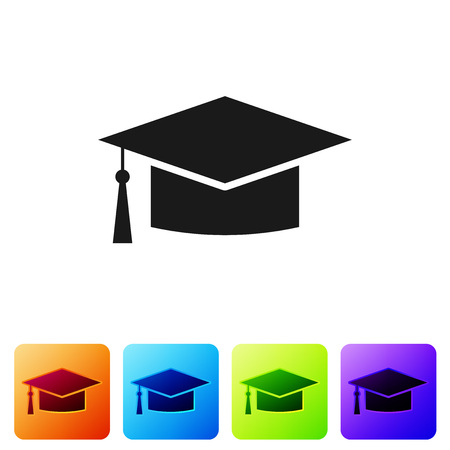 Black Graduation cap icon isolated on white background. Graduation hat with tassel icon. Set icon in color square buttons. Vector Illustration