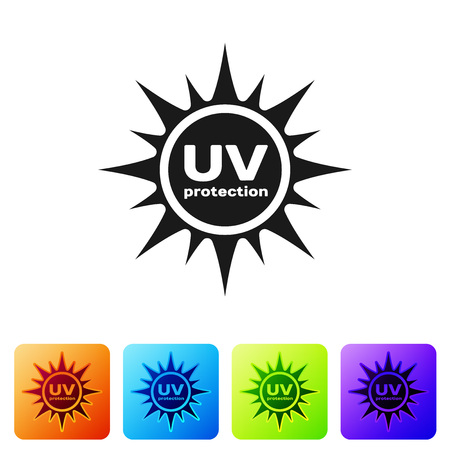 Black UV protection icon isolated on white background. Ultra violet rays radiation. SPF sun sign. Set icon in color square buttons. Vector Illustration Vecteurs