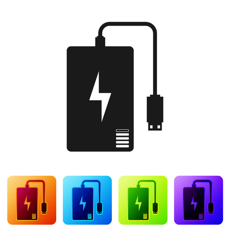 Black Power bank with different charge cable icon isolated on white background. Portable charging device. Set icon in color square buttons. Vector Illustration