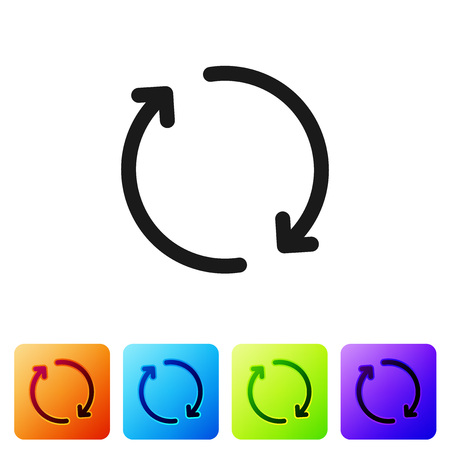 Black Refresh icon isolated on white background. Reload symbol. Rotation arrows in a circle sign. Set icon in color square buttons. Vector Illustration Banque d'images - 124976348
