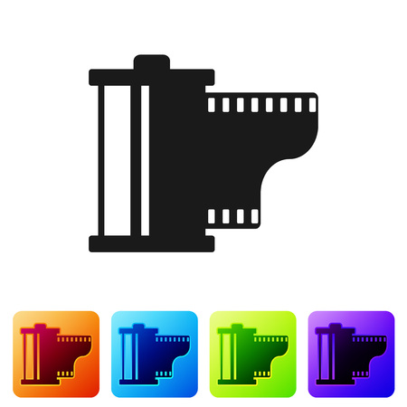 Black Camera vintage film roll cartridge icon isolated on white background. Film reel icon. 35mm film canister. Filmstrip photographer equipment. Set icon in color square buttons. Vector Illustration
