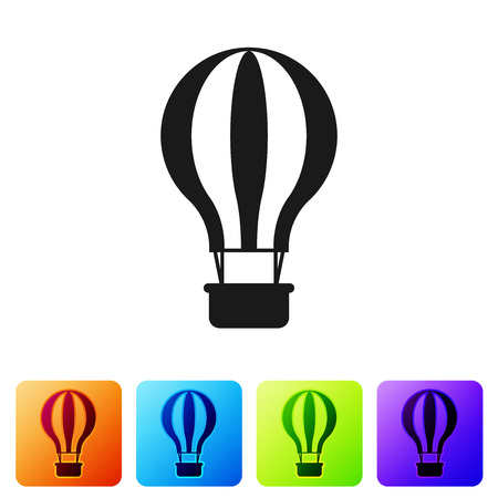 Black Hot air balloon icon isolated on white background. Air transport for travel. Set icon in color square buttons. Vector Illustration