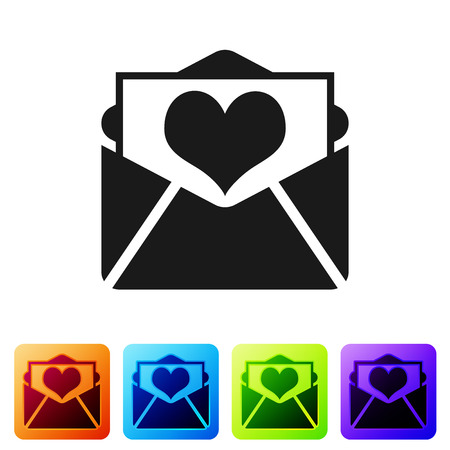 Black Envelope with Valentine heart icon isolated on white background. Letter love and romance. Set icon in color square buttons. Vector Illustration